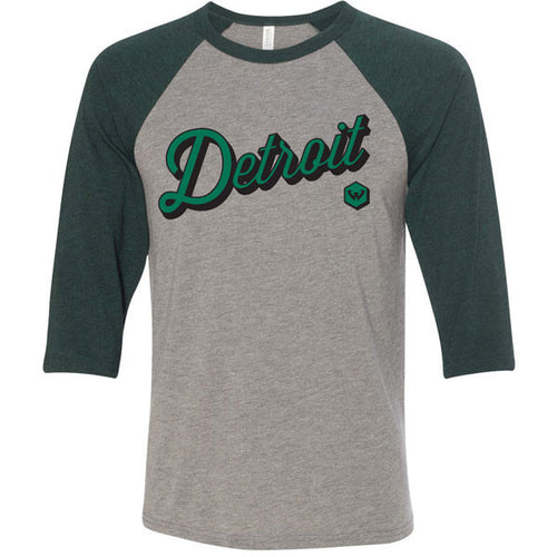 Wayne State University Warriors Canvas Detroit Script Raglan - Heather/Emerald