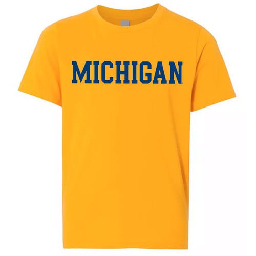 Basic Block University of Michigan Next Level Youth Premium Short Sleeve T Shirt - Gold