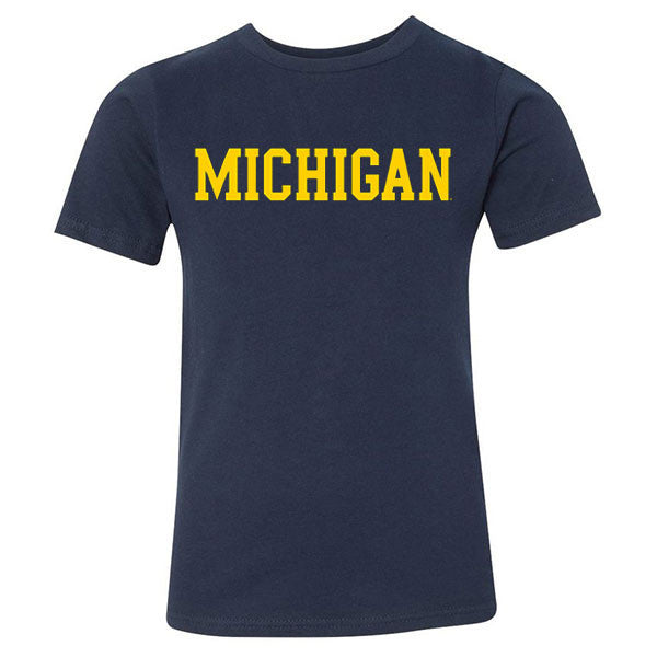 Basic Block University of Michigan Next Level Youth Short Sleeve T Shirt - Midnight