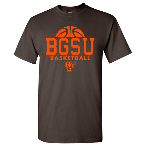 Bowling Green State University Basketball Hype  Basic Cotton Short Sleeve T Shirt - Brown