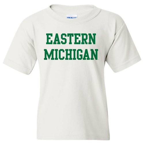 Eastern Michigan University Eagles Basic Block Youth Short Sleeve T Shirt - White