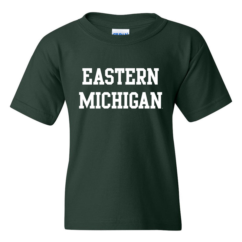 Eastern Michigan University Eagles Basic Block Youth Short Sleeve T Shirt - Forest