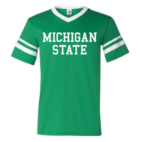 Basic Block Michigan State Augusta V-Neck with Striped Sleeves - Kelly/White