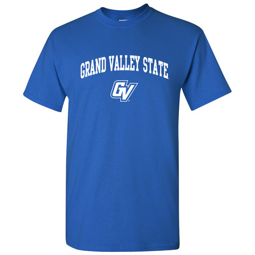 Grand Valley State University Lakers Arch Logo Short Sleeve T Shirt - Royal