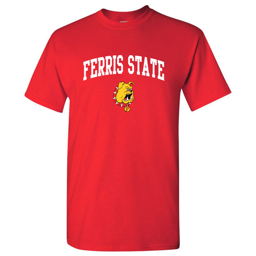 Ferris State University Bulldogs Arch Logo Short Sleeve T Shirt - Red