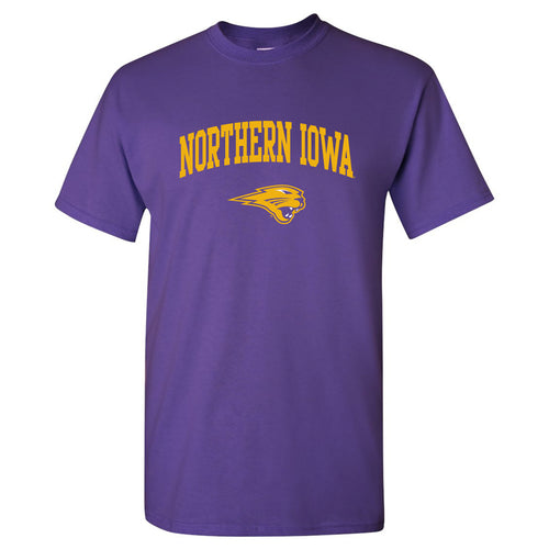 University of Northern Iowa Panthers Arch Logo Short Sleeve T Shirt - Purple