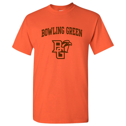 Bowling Green State University Falcons Arch Logo Basic Cotton Short Sleeve T Shirt - Orange