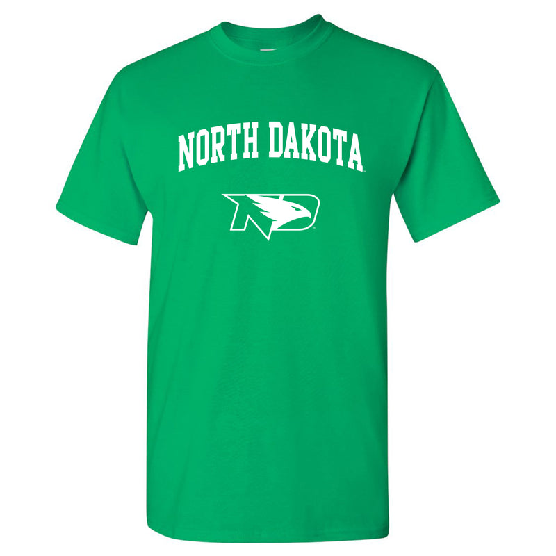 University of North Dakota Fighting Hawks Arch Logo Short Sleeve T Shirt - Irish Green