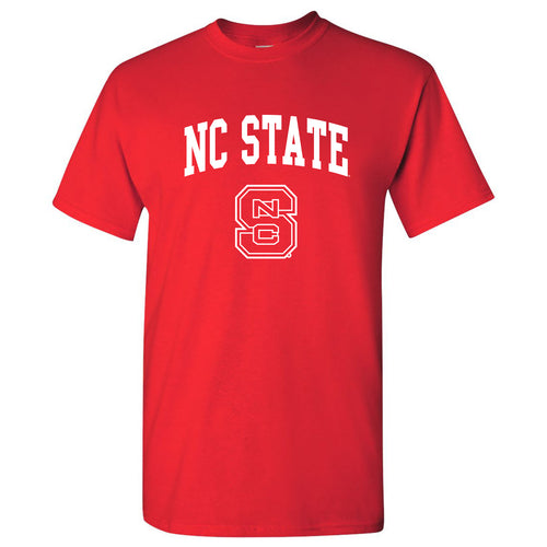 North Carolina State University Wolfpack Arch Logo Short Sleeve T Shirt - Red