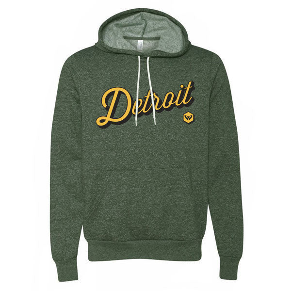 Detroit Script Hoodie - Heather Forest
