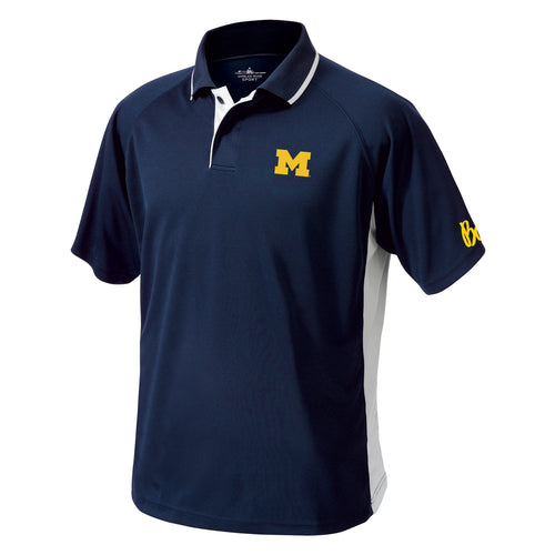 Block M Bo Sig Michigan Wolverines Charles River Color Blocked Wicking Polo - Navy/White