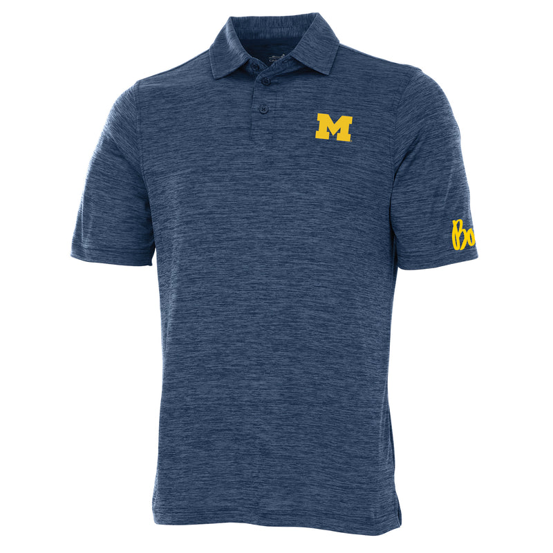 Block M Bo Sig Michigan Wolverines Charles River Space Dye Polo - Navy