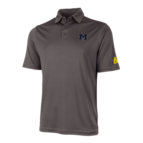Block M Outline Bo Sig Michigan Wolverines Charles River Wellesley Polo - Charcoal