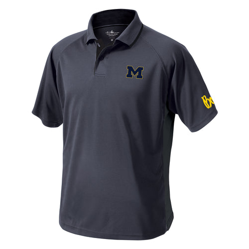 Block M Outline Bo Sig Michigan Wolverines Charles River Color Blocked Wicking Polo - Slate/Black