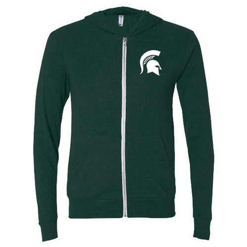 Michigan State University Spartan Logo Canvas Hoodie - Emerald
