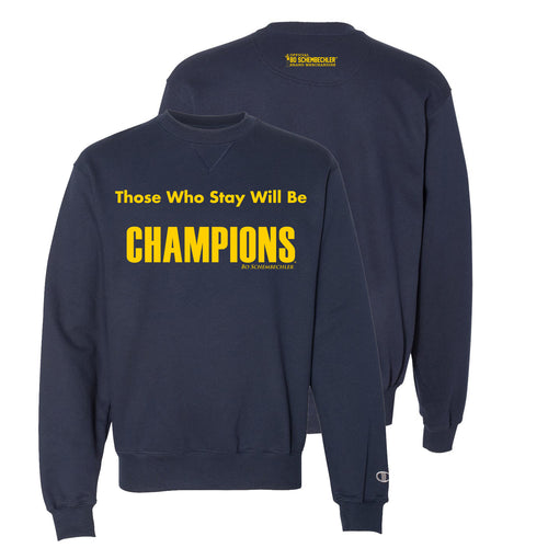 Bo Schembechler Those Who Stay Champion Fleece Crew - Navy