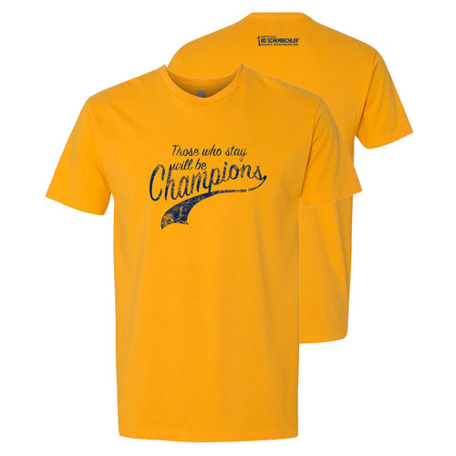 Bo Schembechler Those Who Stay Script Premium Short Sleeve Tee - Gold