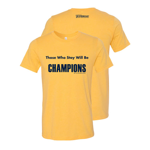 Bo Schembechler Those Who Stay Canvas T-Shirt - Heather Yellow Gold