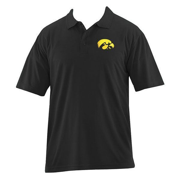 University of Iowa Hawkeye Logo Harriton Performance Polo - Black