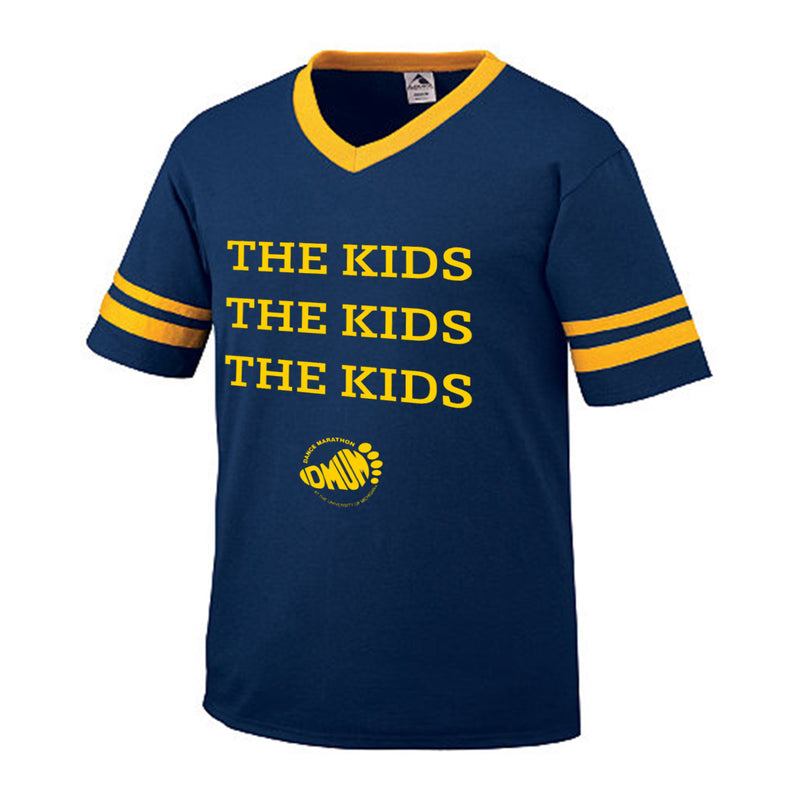 DMUM Kids Kids Kids Striped Sleeve V-Neck - Navy/Gold