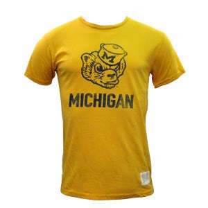 Retro Brand Old Wolverine University of Michigan Cotton Short Sleeve T Shirt - Gold