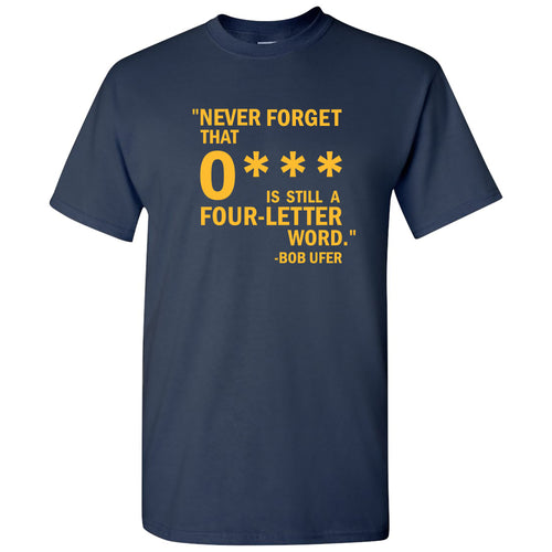 Ohio 4 Letter Word Michigan Basic Cotton Short Sleeve T Shirt - Navy