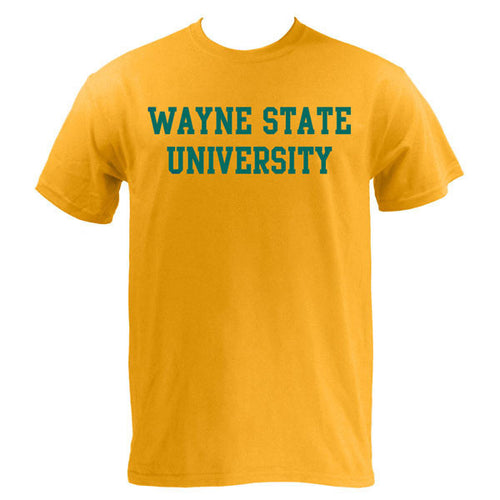 Wayne State University Warriors Basic Block Short Sleeve T-Shirt - Gold