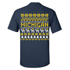 Michigan Holiday Sweater Tee - Navy