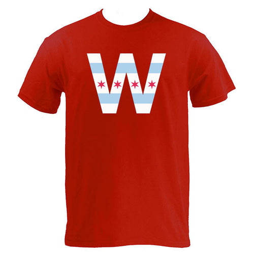 Chicago Flag W Short Sleeve T Shirt - Red