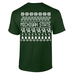 Michigan State Holiday Sweater Tee - Forest