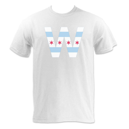 Chicago Flag W Short Sleeve T Shirt - White