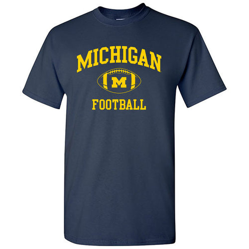 Classic Football Arch University of Michigan Basic Cotton Short Sleeve T Shirt - Navy