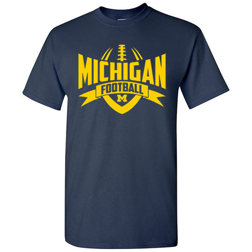 University of Michigan Wolverines Football Rush Basic Cotton T-Shirt - Navy