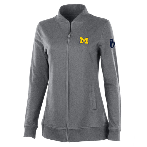 Block M Outline Bo Sig Michigan Wolverines Charles River Womens Adventure Jacket - Pewter Heather