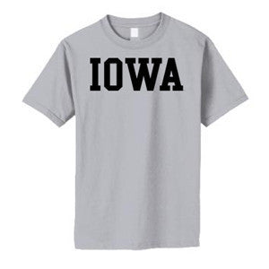 University of Iowa Hawkeyes Basic Block Youth Short Sleeves T Shirt - Sport Grey