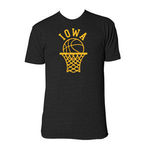 University of Iowa Hawkeyes Retro Basketball Hoop American Apparel Short Sleeve T Shirt - Tri-Black
