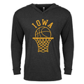 Iowa Retro Bball Hoop Long Sleeve Hood - Black