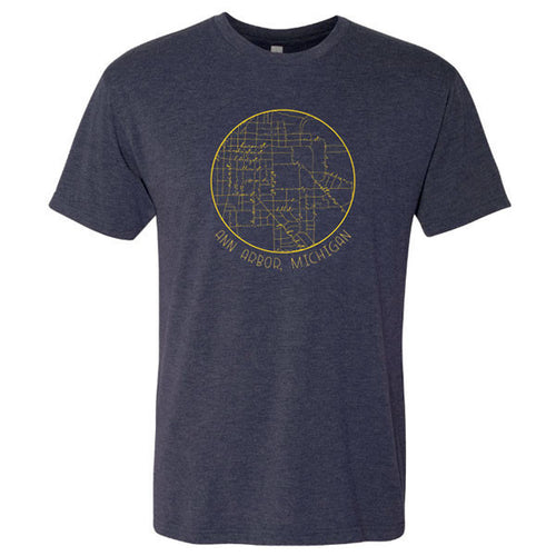 Ann Arbor Map Script Next Level Triblend Short Sleeve T Shirt - Vintage Navy