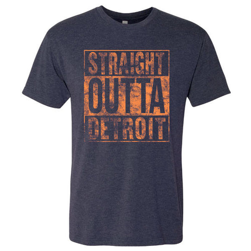 Straight Outta Detroit Next Level Short Sleeve T Shirt - Vintage Navy