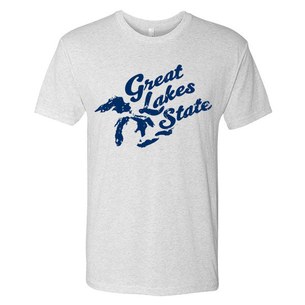 Great Lakes State Script Michigan Next Level Triblend Short Sleeve T Shirt- Heather White