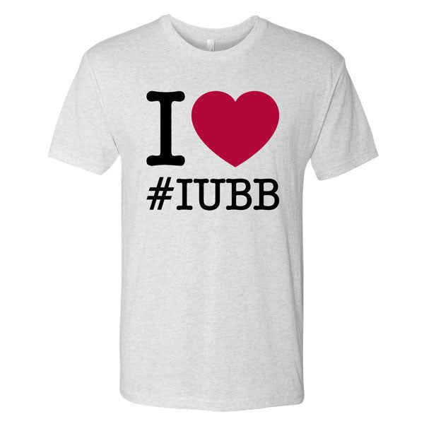I Heart IUBB Indiana University Hoosiers Basketball Short Sleeve T-Shirt - Heather White