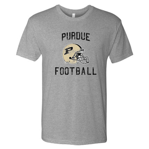 Purdue University Boilermakers Faded Helmet Next Level T Shirt - Premium Heather