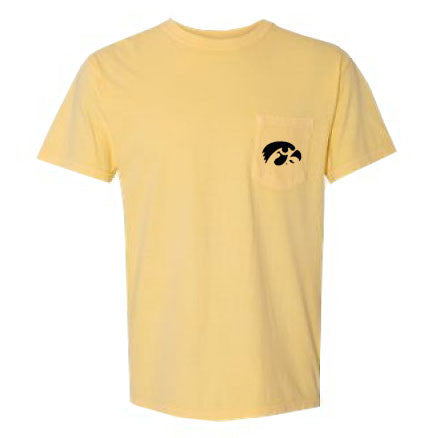 University of Iowa Hawkeye Logo Comfort Colors Pocket Short Sleeve T-Shirt - Butter