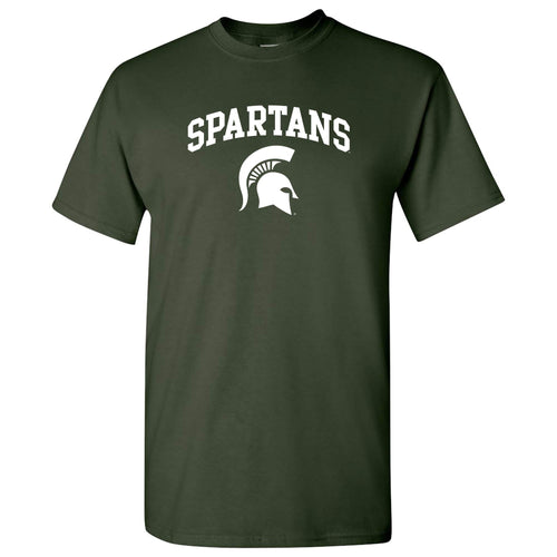 Michigan State University Spartans Mascot Arch Logo Short Sleeve T Shirt - Forest Green