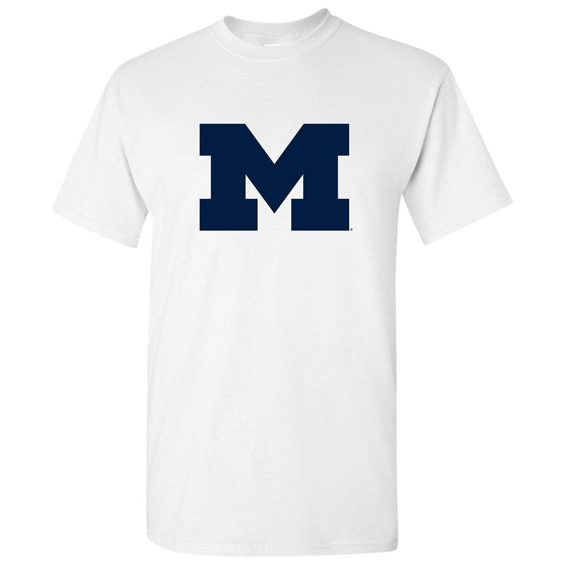 Primary Logo University of Michigan Basic Cotton Short Sleeve T Shirt - White