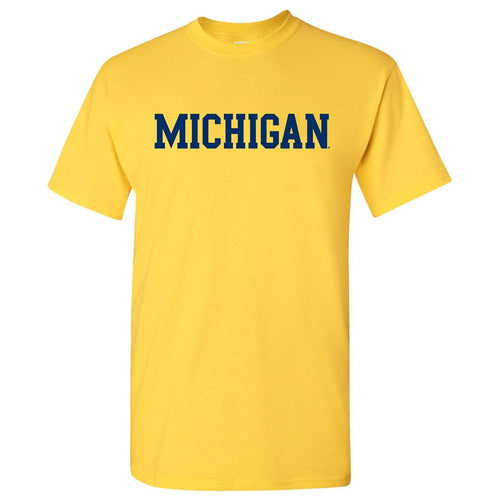 Basic Block University of Michigan Basic Cotton Short Sleeve T Shirt - Maize