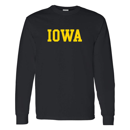 University of Iowa Hawkeyes Basic Block Long Sleeve T Shirt - Black