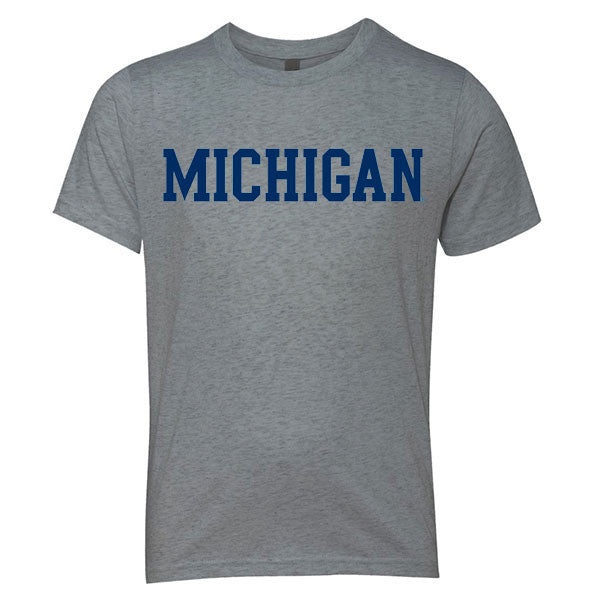 Basic Block University of Michigan Next Level Youth Triblend Short Sleeve T Shirt- Premium Heather