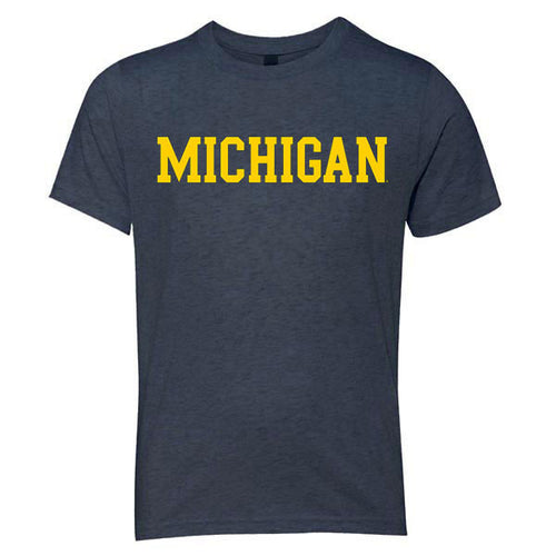 Basic Block University of Michigan Next Level Youth Triblend Short Sleeve T Shirt - Vintage Navy