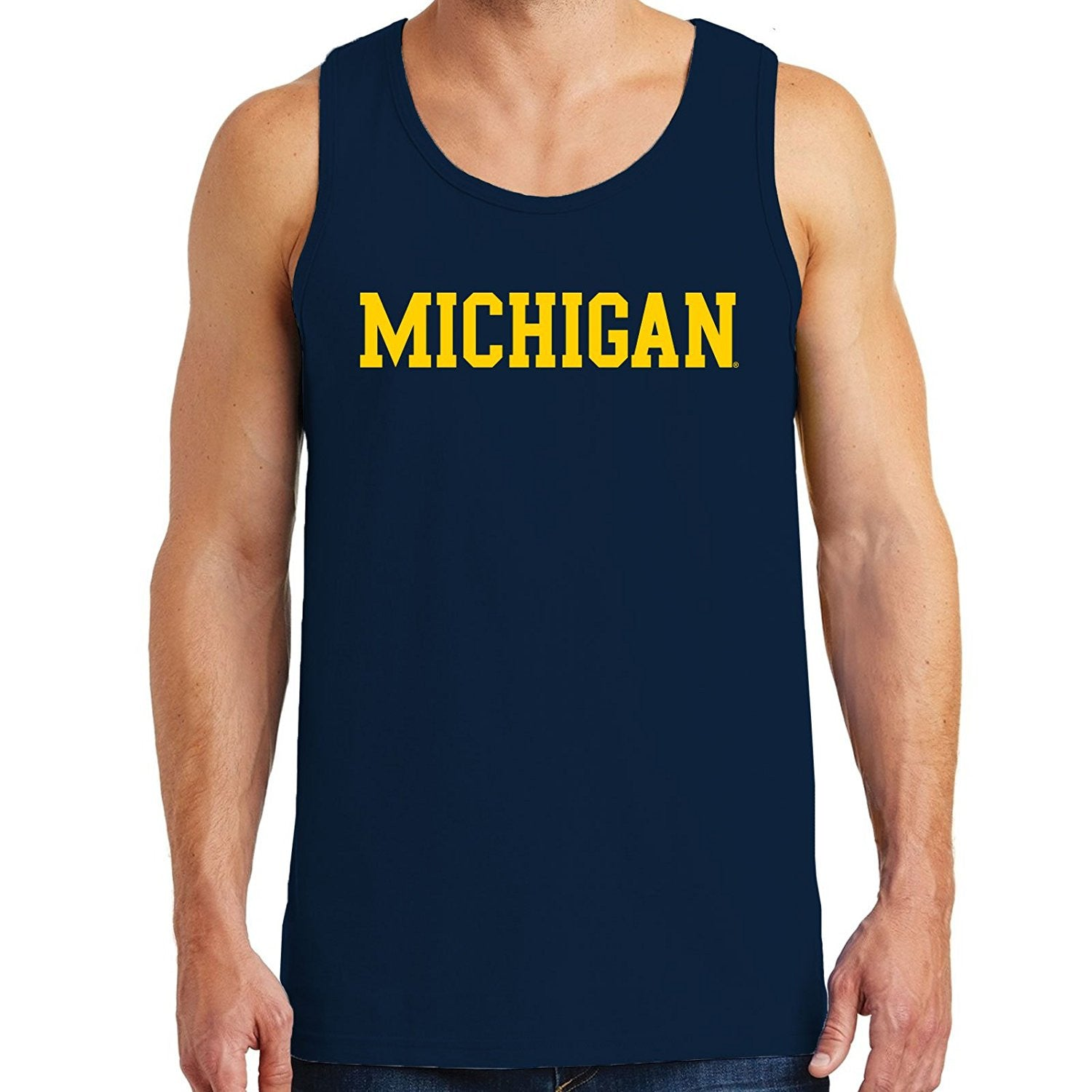 UGP Block Michigan Jersey Muscle Tank - Navy - UGP